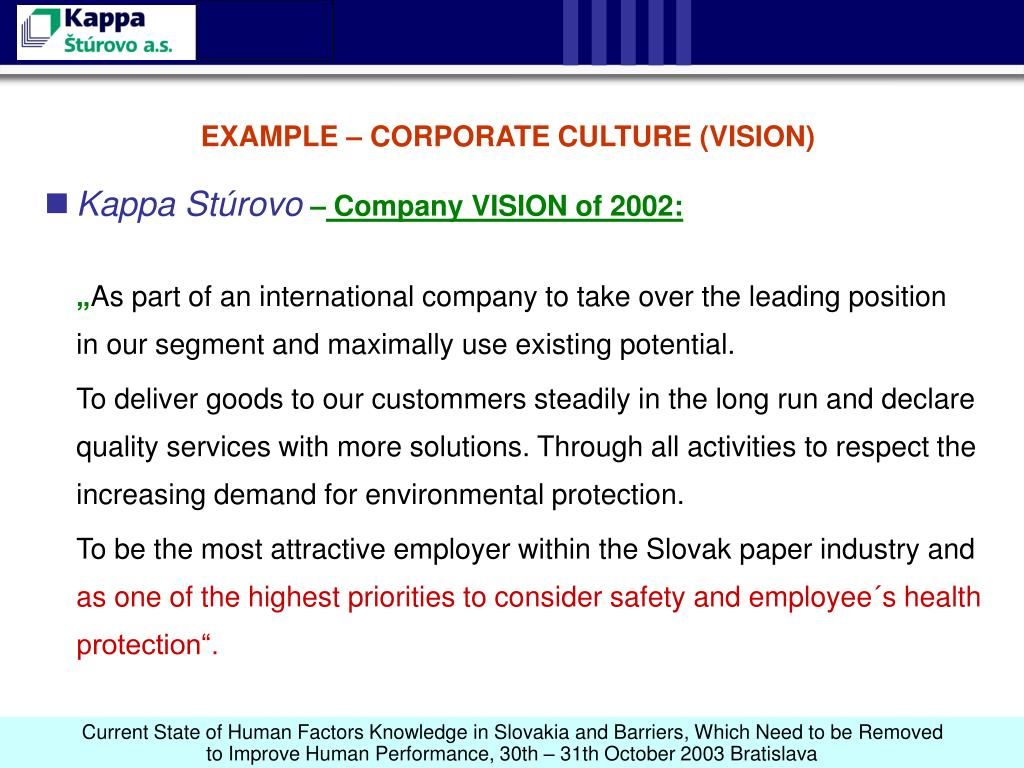 EXAMPLE – CORPORATE CULTURE (VISION)