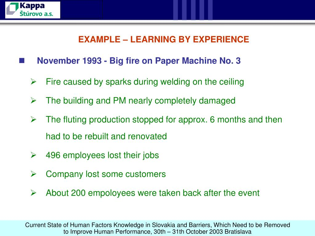 EXAMPLE – LEARNING BY EXPERIENCE