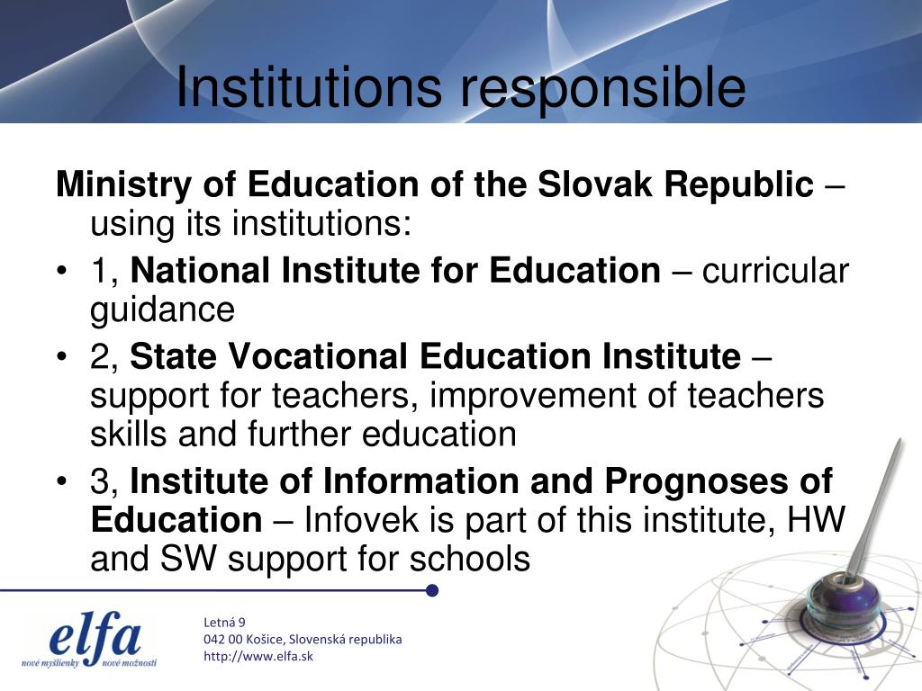 Institutions responsible