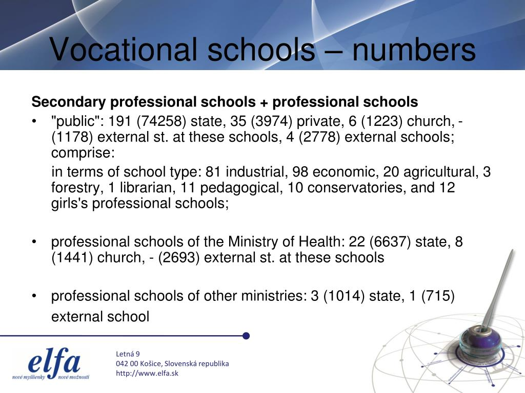 Vocational schools – numbers