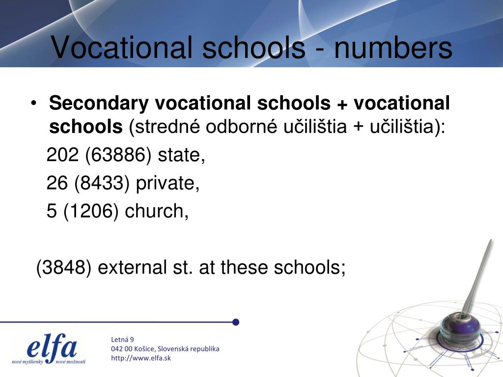 Vocational schools - numbers