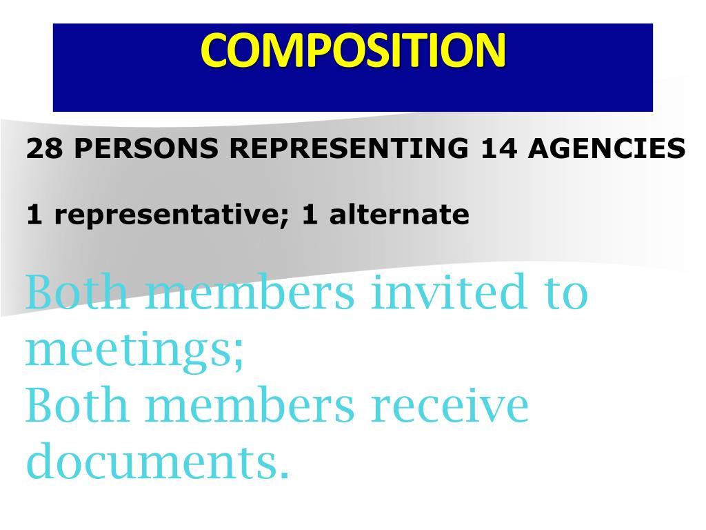 28 PERSONS REPRESENTING 14 AGENCIES