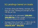 b landings based on boats