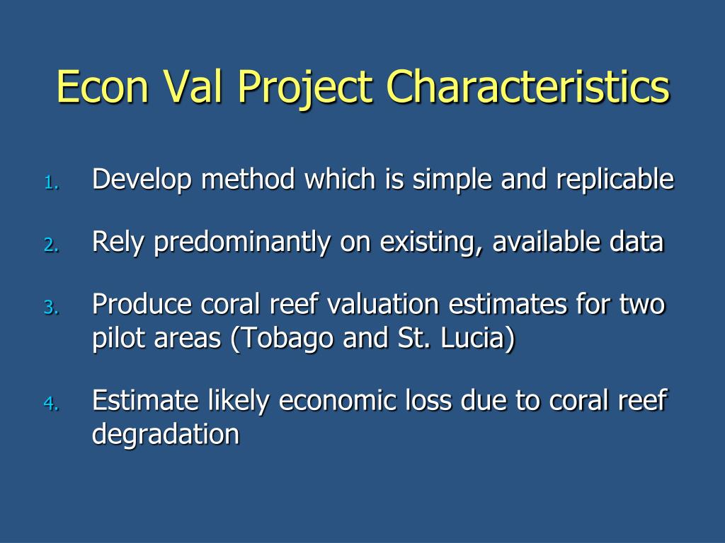 Econ Val Project Characteristics