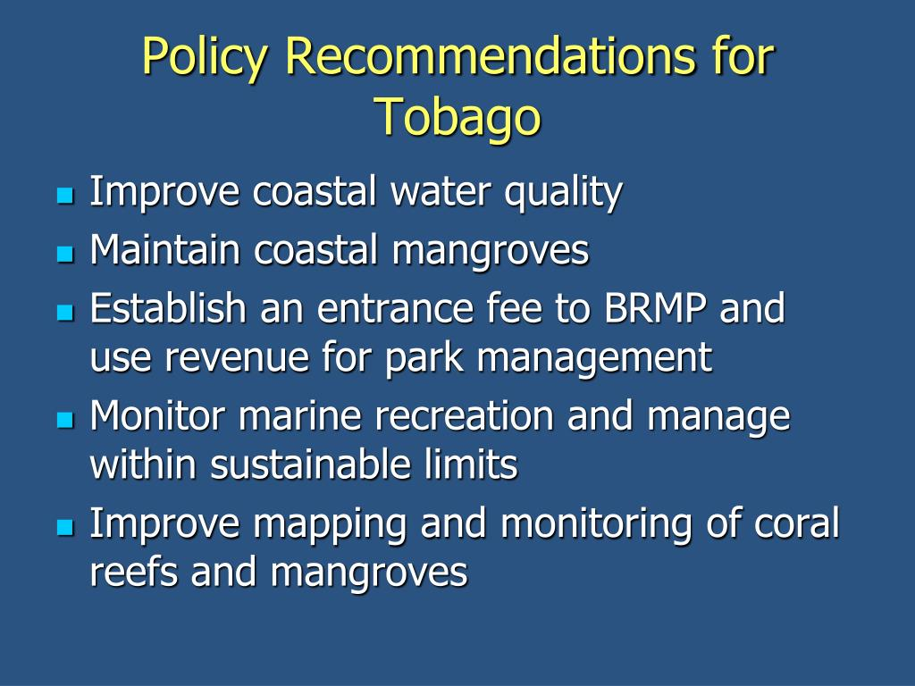 Policy Recommendations for Tobago