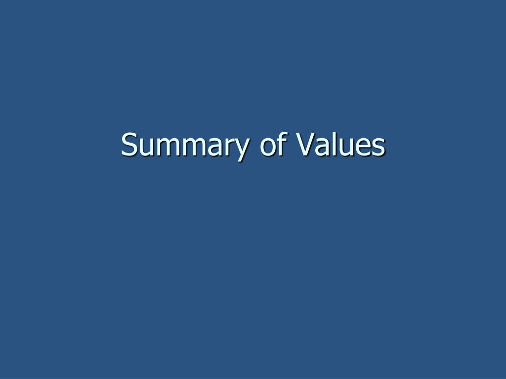 Summary of Values