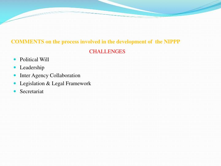 Comments on the process involved in the development of the nippp