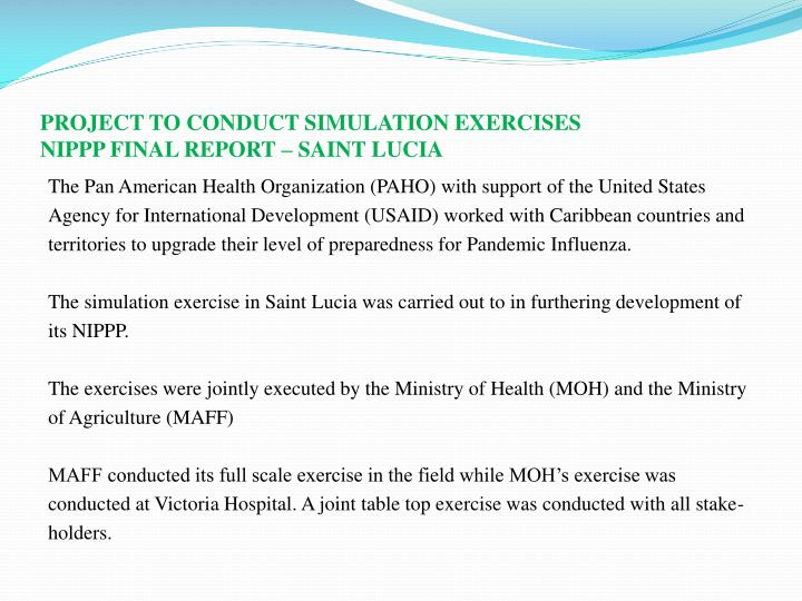Project to conduct simulation exercises nippp final report saint lucia