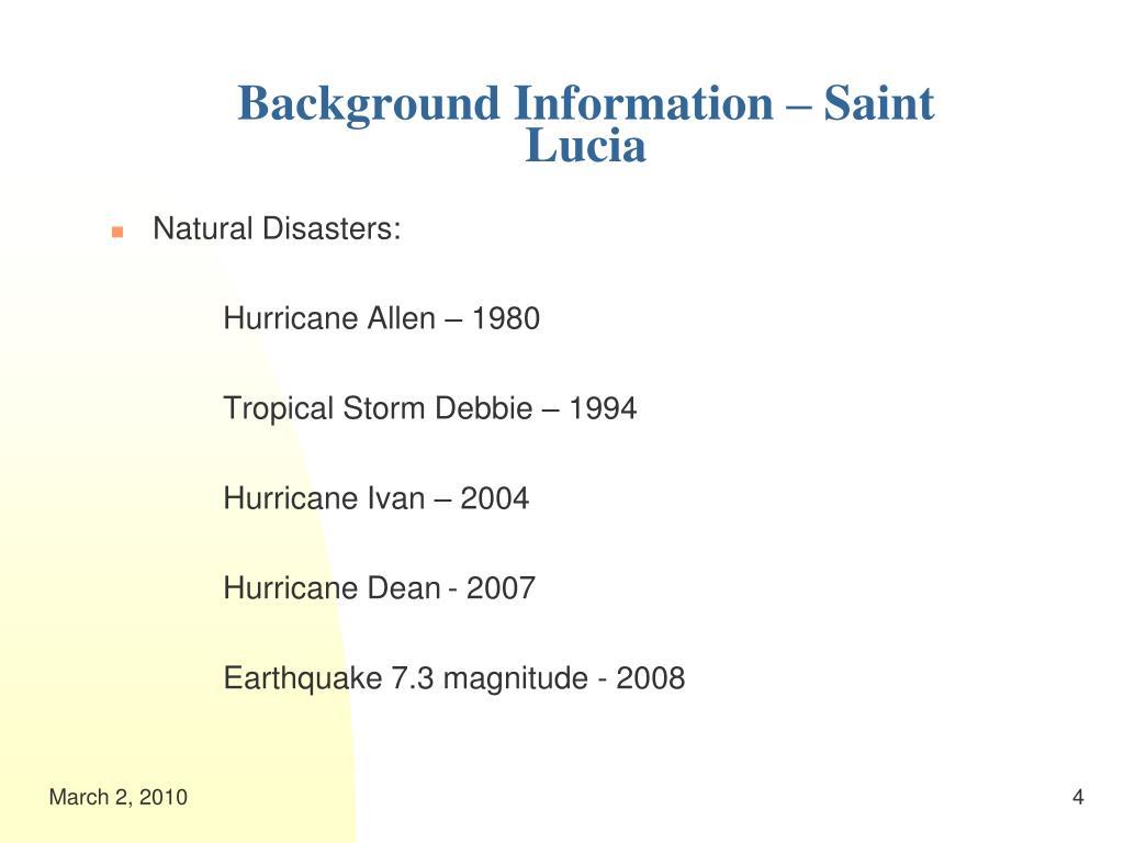 Background Information – Saint Lucia