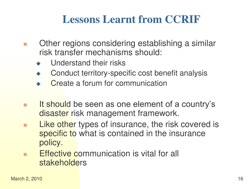 Lessons Learnt from CCRIF