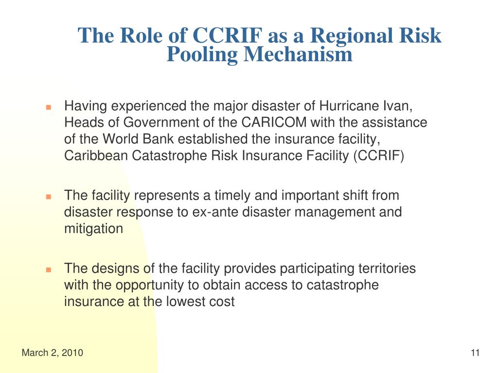 The Role of CCRIF as a Regional Risk Pooling Mechanism