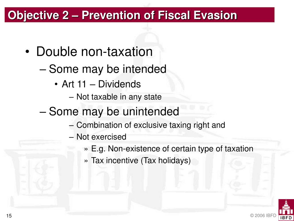 Objective 2 – Prevention of Fiscal Evasion