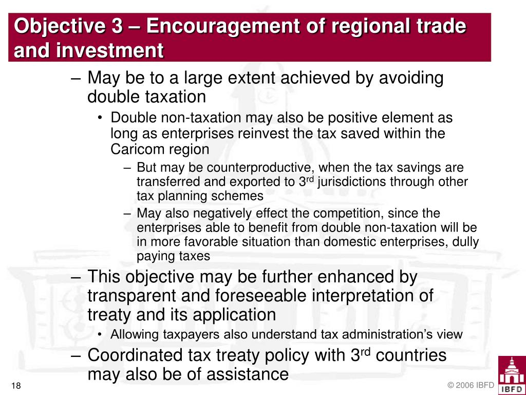 Objective 3 – Encouragement of regional trade and investment