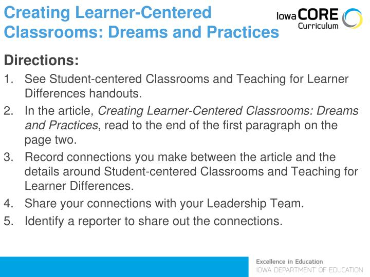 Creating Learner-Centered