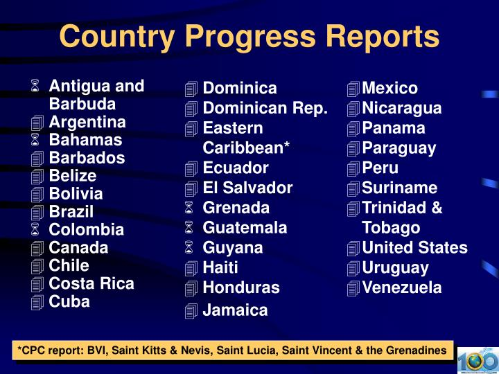 Country progress reports