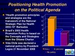 positioning health promotion on the political agenda