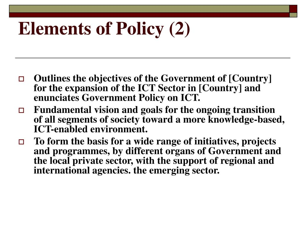 Elements of Policy (2)