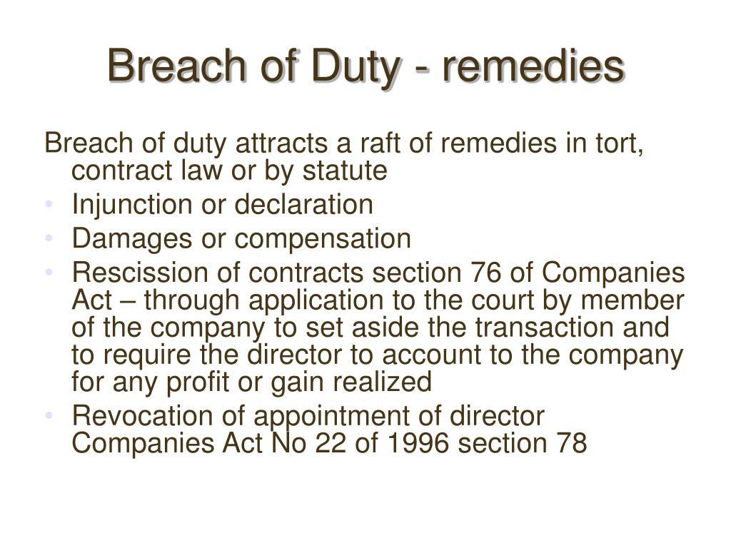 Breach of Duty - remedies
