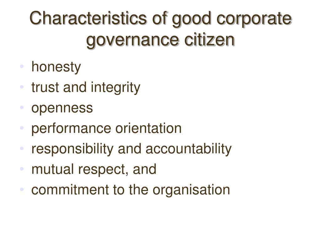 Characteristics of good corporate governance citizen