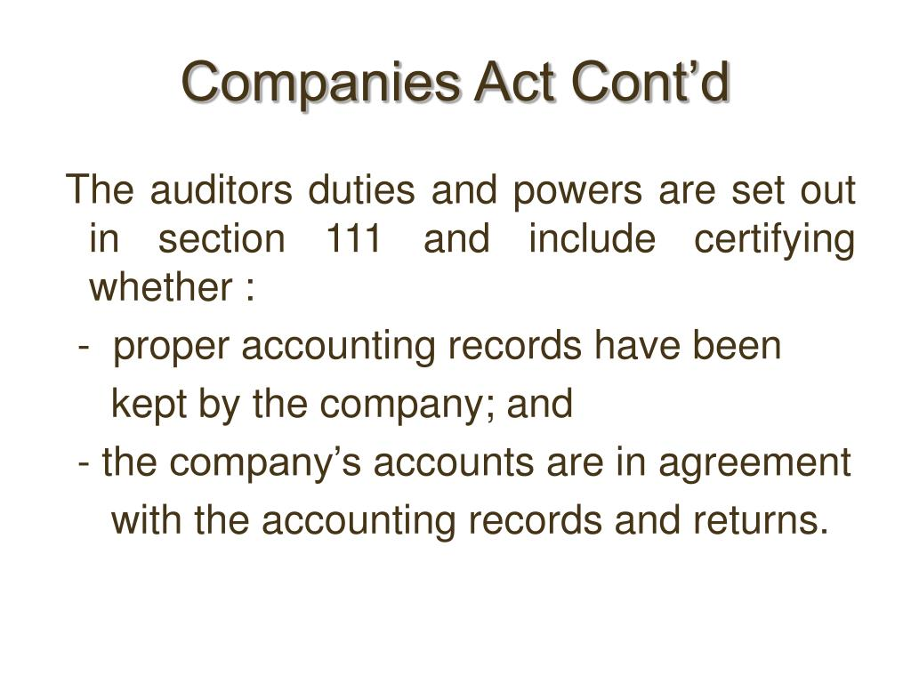 Companies Act Cont'd
