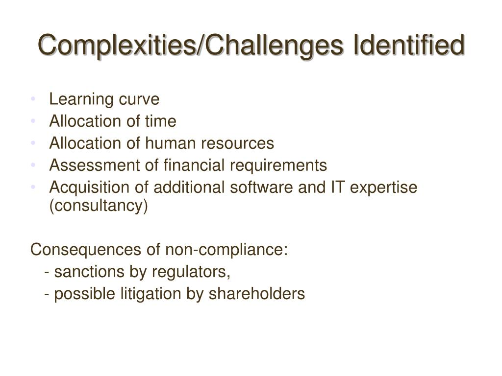 Complexities/Challenges Identified