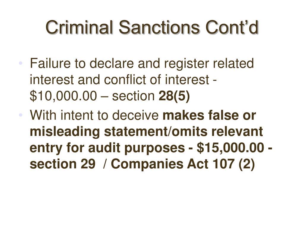 Criminal Sanctions Cont'd