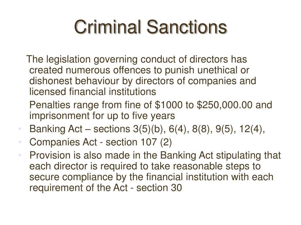 Criminal Sanctions