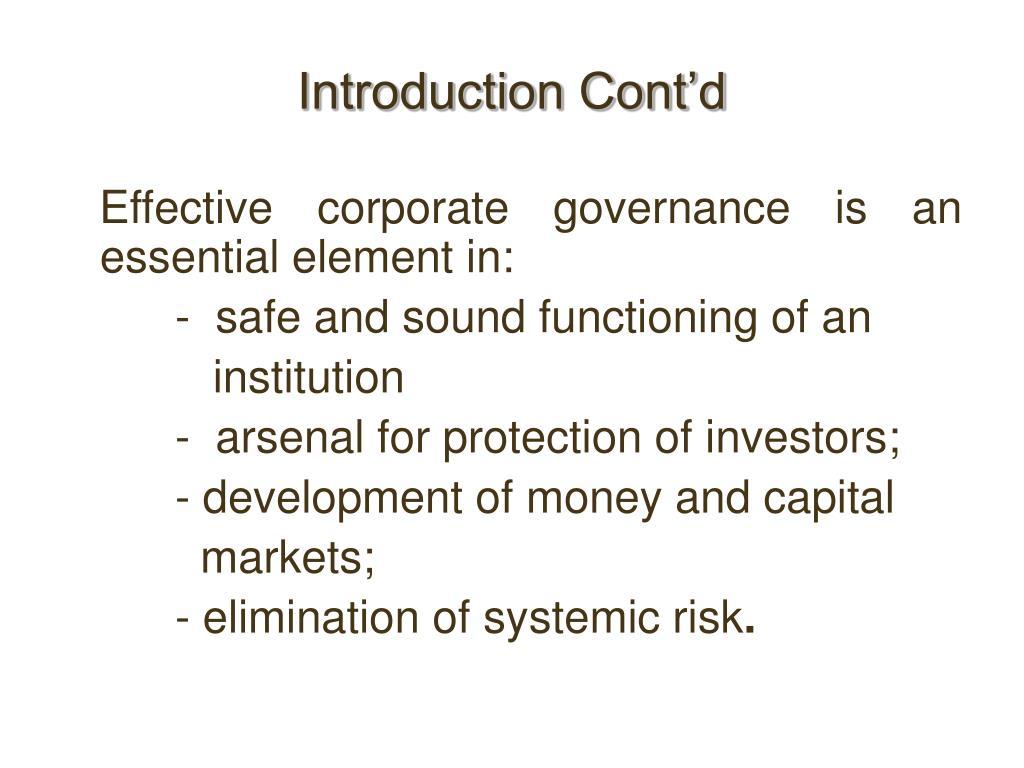 Introduction Cont'd
