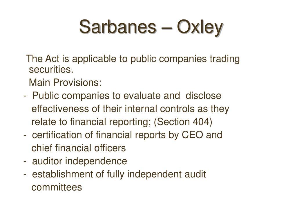 Sarbanes – Oxley