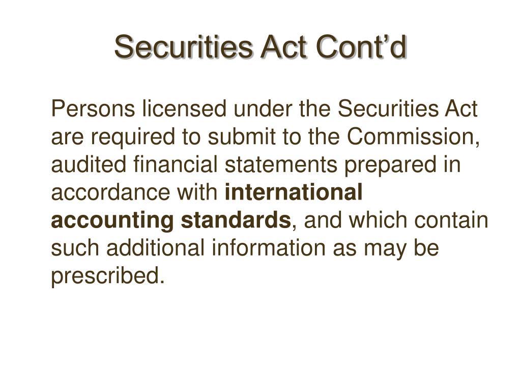 Securities Act Cont'd