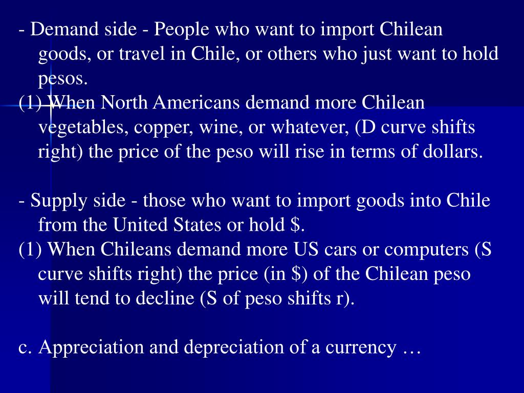 - Demand side - People who want to import Chilean goods, or travel in Chile, or others who just want to hold pesos.