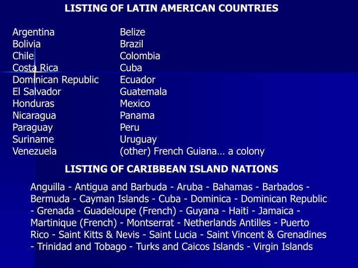 LISTING OF LATIN AMERICAN COUNTRIES