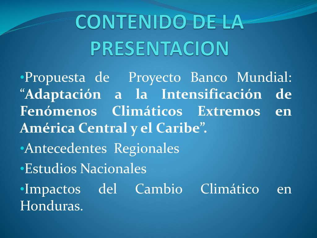 CONTENIDO DE LA PRESENTACION