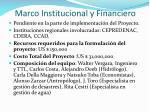 marco institucional y financiero