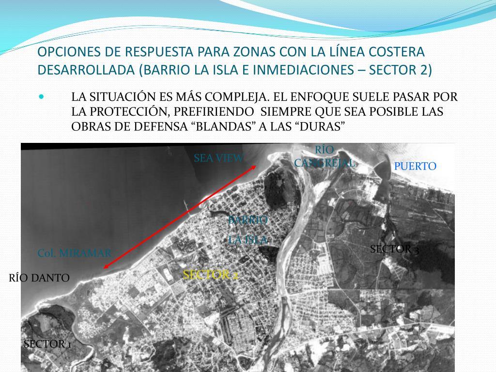 OPCIONES DE RESPUESTA PARA ZONAS CON LA LÍNEA COSTERA DESARROLLADA (BARRIO LA ISLA E INMEDIACIONES – SECTOR 2)
