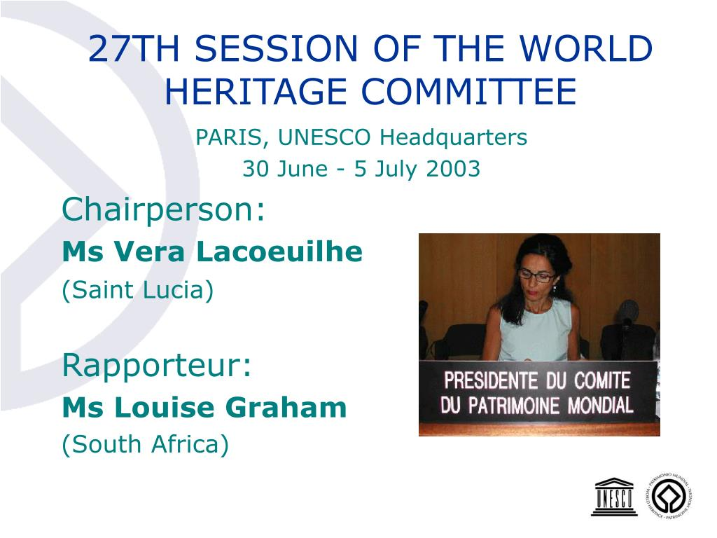 27TH SESSION OF THE WORLD HERITAGE COMMITTEE
