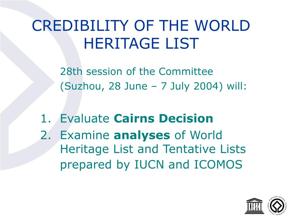 CREDIBILITY OF THE WORLD HERITAGE LIST