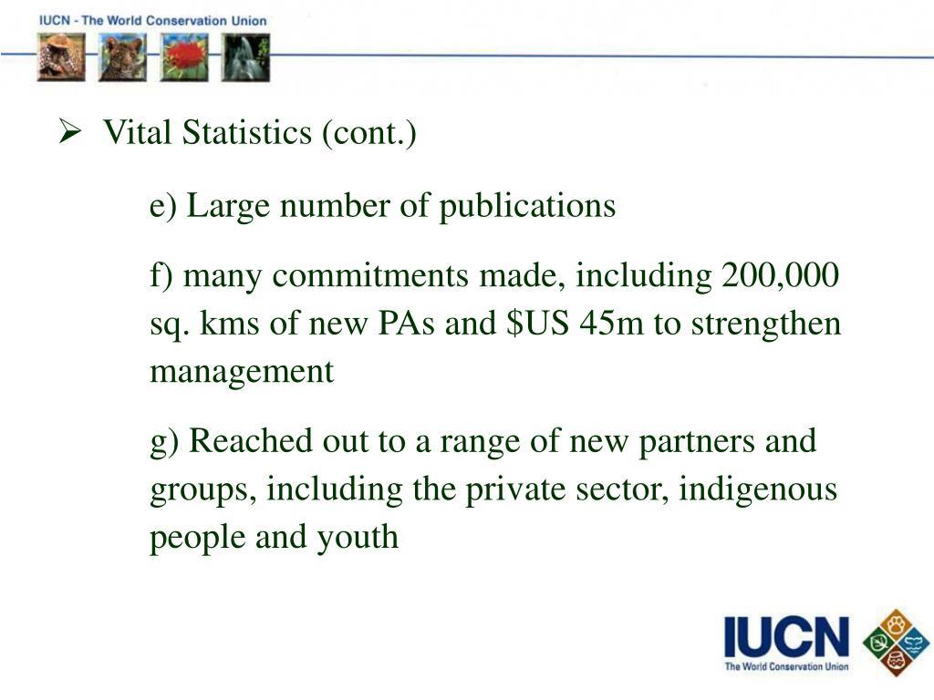 Vital Statistics (cont.)