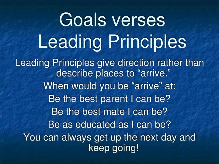 Goals verses