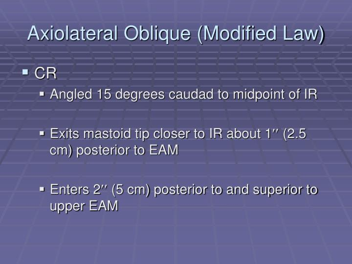 Axiolateral Oblique (Modified Law)