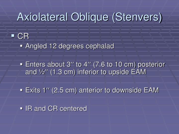 Axiolateral Oblique (Stenvers)