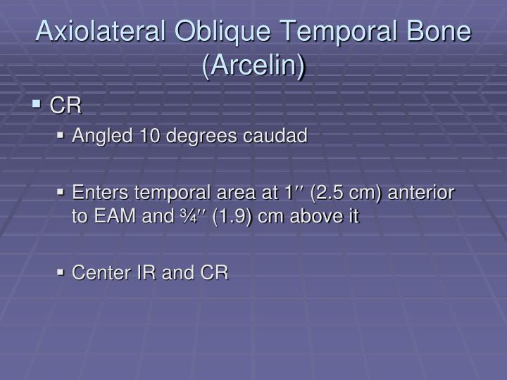 Axiolateral Oblique Temporal Bone (Arcelin)
