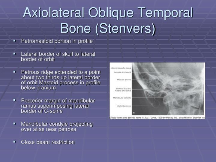 Axiolateral Oblique Temporal Bone (Stenvers)
