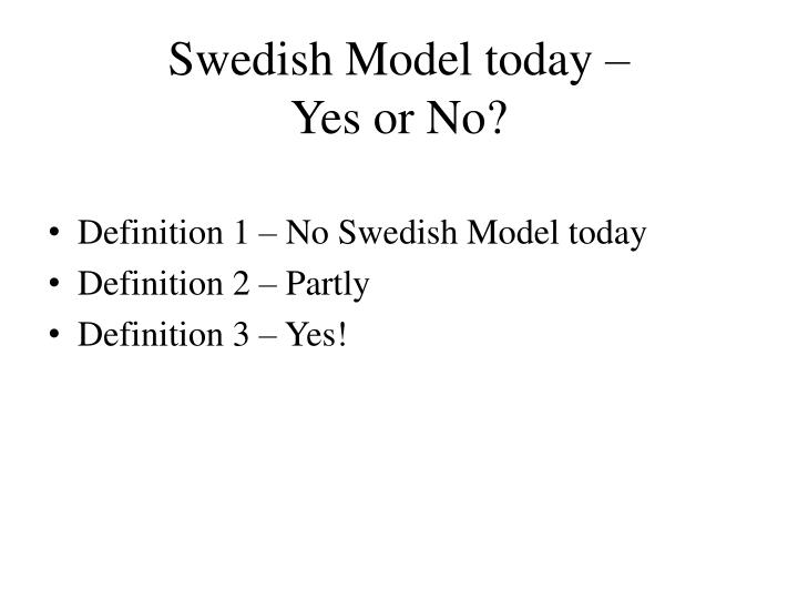 Swedish Model today –