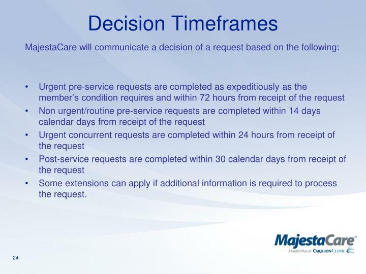 Decision Timeframes