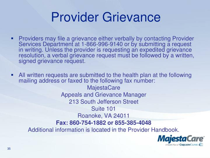 Provider Grievance