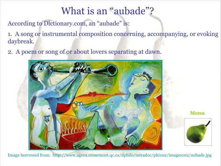 "What is an ""aubade""?"
