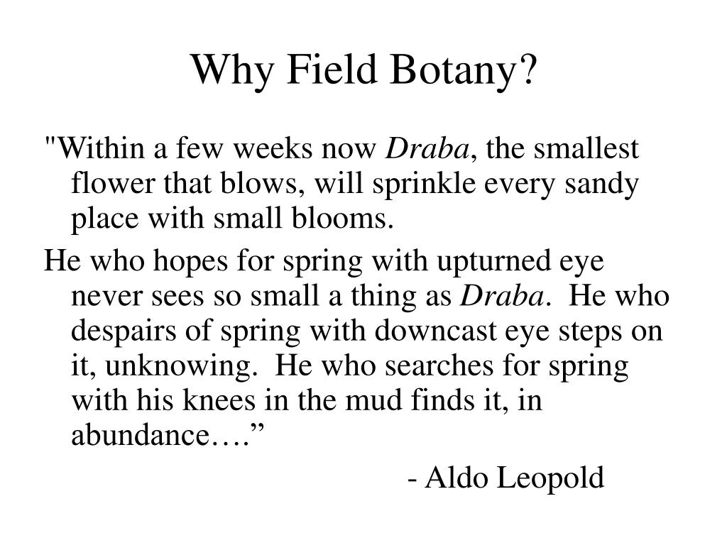 Why Field Botany?