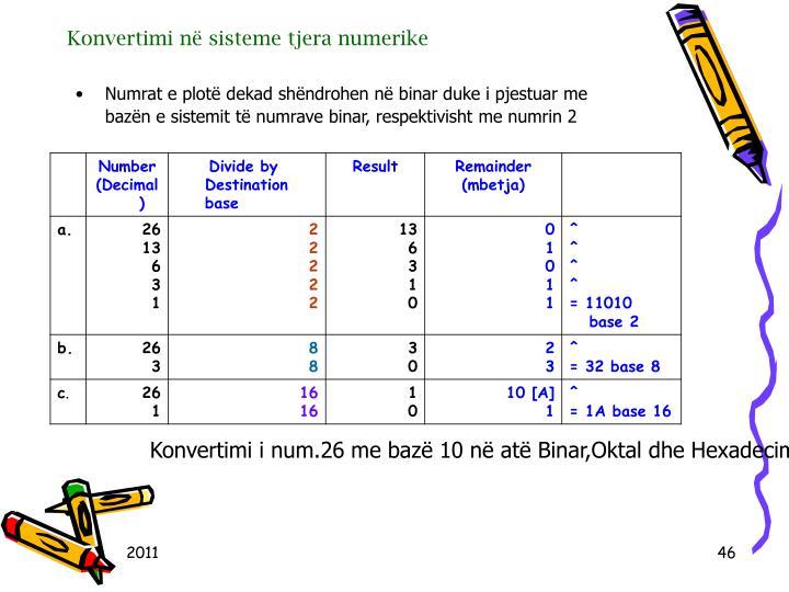 Konvertimi n sisteme tjera numerike