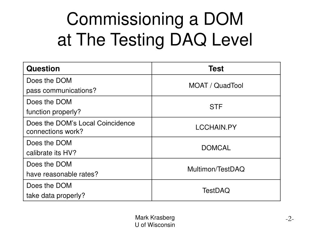 Commissioning a DOM